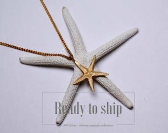 Large gold starfish pendant