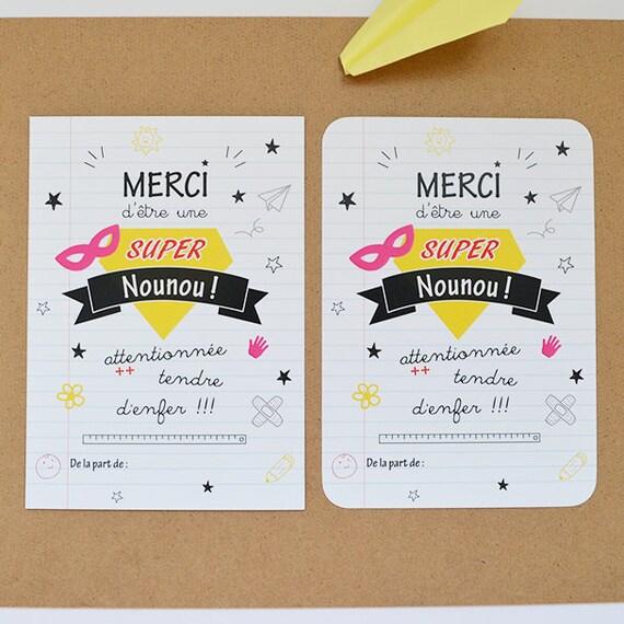 Souvent Carte remerciements Nounou cadeau nounou super nounou carte SF35