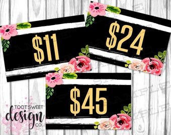 Honey & Lace Pricing Cards, Honey and Lace Price Card 4x6, Online Shop Sale Signs, Black White Stripe Floral, Price Tags INSTANT DOWNLOAD