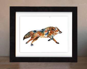 wolf art print, black wolf, wolf artwork, wolf gift idea, wolf art, wolf wall art, wolf nursery, wildlife art, art print, saltwatercolors