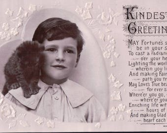 "Vintage Black & White Embossed "" Kindest Greetings. "" Postcard - 1900's"