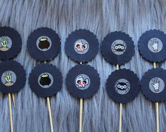 Halloween Ghoul Cupcake Toppers, Cake Toppers with Spiders, Black Cauldron, Zombie Hands and Skull. Perfect for Party Decorations, Halloween