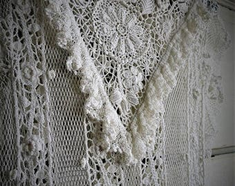 SUMMER CLEARANCE Hand Crocheted Wedding Dress / Victorian Inspired Neckline / Boho Hippie Gypsy Style
