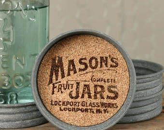 Set of Four Mason Coasters-Fun Coasters-Mason Jar Coasters-Mason Jar Lid Coasters-Drink Coasters-Rustic Coasters-Farmhouse Decor-Gift