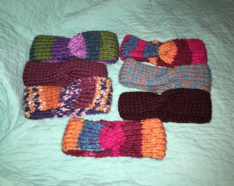 Knitted Thick Yarn Twist Headwarmers
