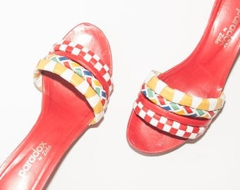 Zalo // Vintage Shoes // Red Leather Platform Flatform Wedges // Primary Color Sandals // 80's Wedges // Woven Leather Straps // Size 8.5
