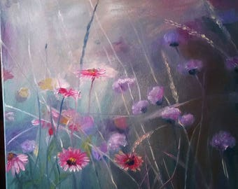 Dance of flowers in the clearing., oil, canvas