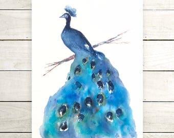 Original Peacock painting-original painting-colorful art-wall art-bird lovers-ZenWatercolors-watercolor painting-animal painting