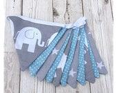 Grey  blue nursery Bunting elephant bunting nursery bunting newborn gift baby shower baby boy