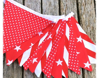 Red and White Bunting, fabric bunting, nursery bunting, red bunting, children's bunting