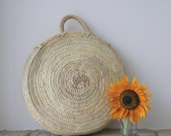 Round basket, large size, straw basket bag, panier rond, Runder Korb, Ronde mand, cesta redonda, palm leaf, summer basket.