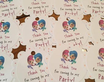 12 Shimmer and Shine Party Favor Tags (can be personalized)