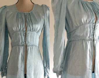Vintage 1930's Silky Blue Dressing Gown
