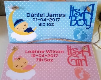 Personalised baby/door plaque, baby girl, baby boy, new baby, gift, baby birth