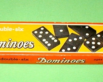 Vintage double six dominoes in original box