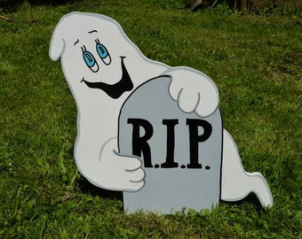 Halloween Ghost with Grave Yard Stake, Ghost with Tombstone Lawn Stake, RIP Ghost, Halloween Yard Art, Halloween Outdoor Decor