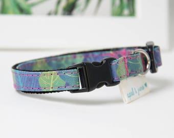 "Cat Collar Breakaway Buckle ""Tropical Color Leaves"""