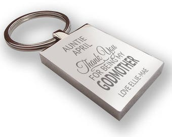 Personalised engraved GODMOTHER keyring christening baptism godparent gift, thank you - GODF2