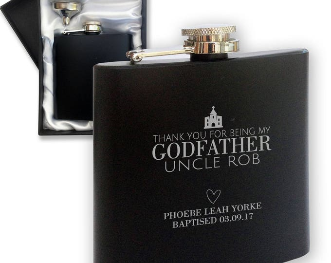 Personalised engraved GODFATHER godparent hip flask CHRISTENING BAPTISM gift , black hip flask in gift box - LGOD3BK