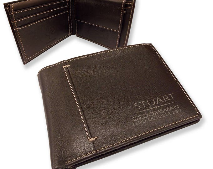 Personalised engraved groomsman LEATHER WALLET wedding gift with coin purse, bifold personalized real leather wallet - JOSL20