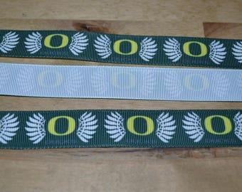 """7/8""""  Oregon Ducks Ribbon By The Yard"""