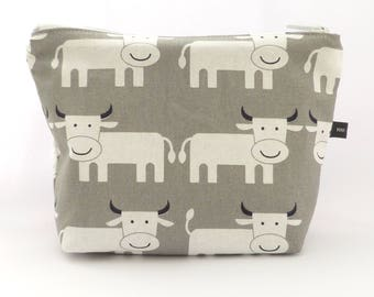 Fabric zipper pouch grey double cows patterns - handmade