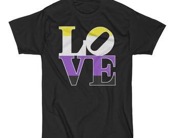 Non-Binary Pride Love Statue Unisex Short Sleeve T-Shirt lgbt lgbtq lgbtqipa queer trans transgender