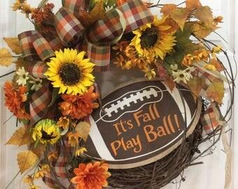 Fall Football wreath, Fall wreath, Autumn Wreath, fall wreaths for front door, Football wreath, wreath with sunflowers, fall door decoration