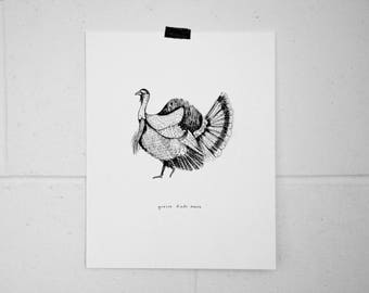 """Big black Turkey"" illustration Poster / Print / Turkey / Illustration / Artwork"