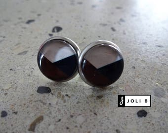 Stainless steel 12 mm glass Cabochon earrings