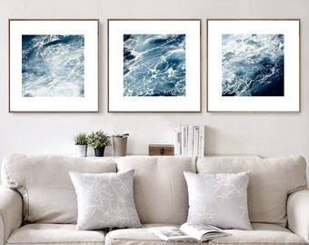 Set Of 3 Ocean Photography, Nautical Decor, Waves Abstract, Ocean Wall Decor , Part 71