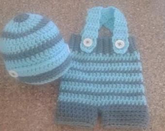 Baby newsboy hat and pant set, newborn photo props set