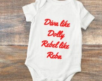 diva/rebel/reba/dolly/outfit/baby/gift/country/girl/bodysuit