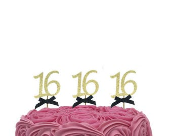 16th cupcake toppers with bows - Gold and black- sixteenth birthday cupcake toppers