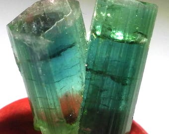 Natural 13.50 Carats Two head Paraiba Tourmaline crystal from afghanistan 100% Transparent 16x12x7mm For jewelry use