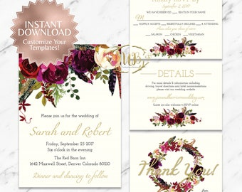 Marsala, Burgundy and Cream Wedding Invitation Suite - Templates