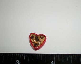 14mm ~ Dollhouse Miniature Handcrafted Valentines Day Heart Chocolate Candy Sweet Dessert Doll Food 912