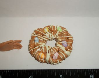 Dollhouse Miniature Handcrafted Braided Easter Egg Bread Dessert Cake Doll Food ~ 1 5/8 inches - see Barbie hand for reference 1447