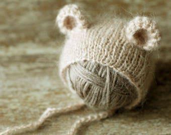 Baby bear hat, newborn mohair hat, baby girl hat, baby boy hat, new born photo prop, photography