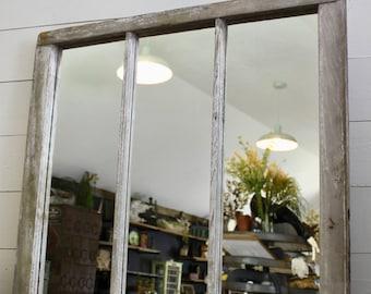 salvaged window mirror, Vintage wood mirror, window pane mirror, white mirror, mantel mirror, Farmhouse Mirror