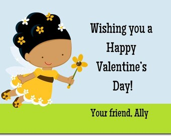 Fairy African American  Classroom Valentines - Girls Valentines Day Card  - African American Valentines Day -  - Afro American Valentines