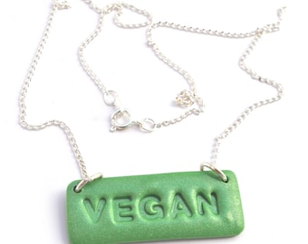 VEGAN Necklace, Vegan Gift, Vegan Jewelry, Vegan Jewellery.