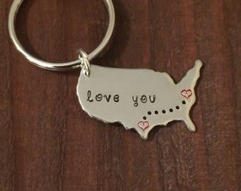 United States Keychain- Long Distance Keychain with Personalized States- Hand Stamped USA- Sibling Gift- State Keyring-