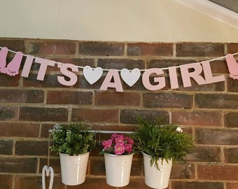It's A Girl Bunting Banner Garland Wedding Party Holidays Decoration With Hearts. Baby Shower Banner