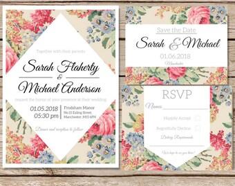 Wedding invitation template Wedding invitation floral Printable wedding invites set Wedding invitations set printable Printable invitations