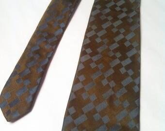 Sir Wembley 50s all silk skinny tie / Mens vintage skinny tie / Necktie / Olive green and blue