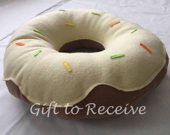 Yellow Donut/Doughnut Cushion with Sprinkles. Novelty gift, cuddly cushion, soft fleece, handmade, pretty present