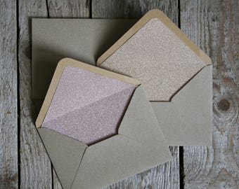 C6 Glitter Lined Kraft Envelopes (Gold or Rose Gold) - 10 Pack