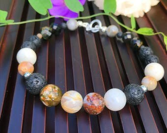 Petrified Wood Agate / Lava Stone / Blue & Gold Tiger Eye / 925 Sterling Silver Yoga Mala Beaded Bracelet. Healing Natural Gemstone Bracelet