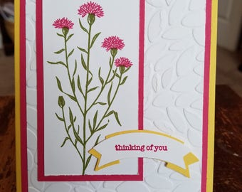 Colorful Flowers Thinking of You Card and Envelope
